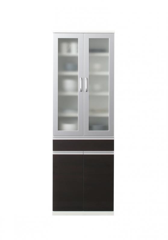 【送料無料】奥行41cmの薄型モダンデザインキッチン収納シリーズ 〔Sfida〕スフィーダ 〔食器棚単品〕 W60 ホワイト【代引不可】