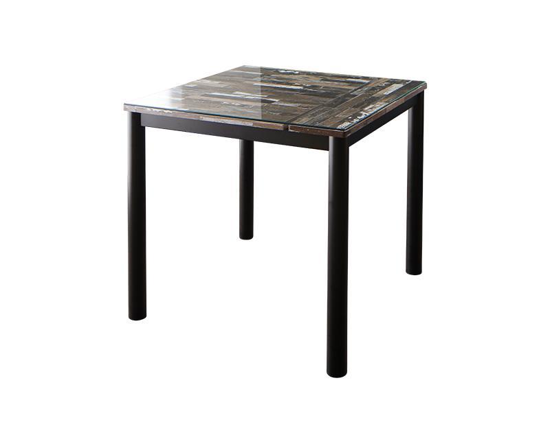 【送料無料】ヴィンテージデザイン ガラスダイニングシリーズ 〔volet〕ヴォレ ダイニングテーブルのみ(W80) 単品販売 ミックスブラウン【代引不可】