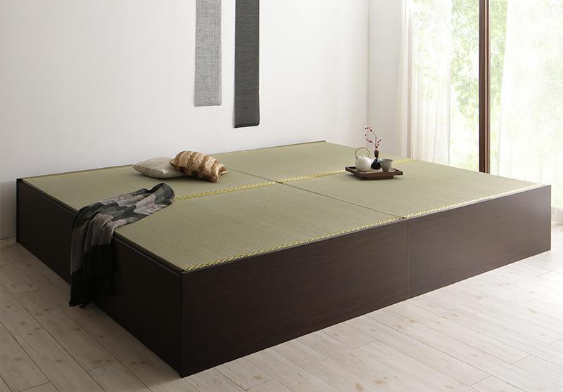 【送料無料】〔組立設置料込み〕 日本製 布団が収納できる大容量収納畳ベッド 〔悠華〕ユハナ い草畳 セミダブル 〔フレーム色〕ダークブラウン【代引不可】