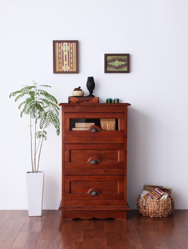 【送料無料】アンティーク調アジアン家具シリーズ 〔RADOM〕ラドム チェスト 幅54 ブラウン【代引不可】