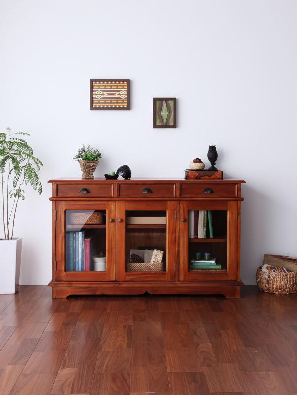 【送料無料】アンティーク調アジアン家具シリーズ 〔RADOM〕ラドム キャビネット 幅120 ブラウン【代引不可】