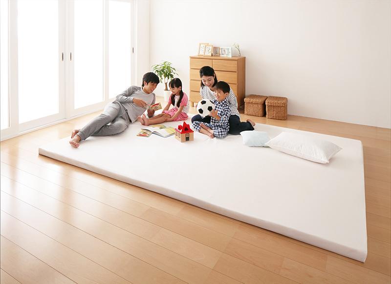 【送料無料】日本製 ソファになるから収納いらず 3サイズから選べる家族で寝られるファミリーマットレス ワイドK280 アイボリー【代引不可】