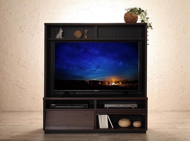 【送料無料】低めで揃える 壁面収納 ハイタイプ テレビ台・チェストシリーズ Flip side フリップサイド テレビボード単品 ブラウン【代引不可】