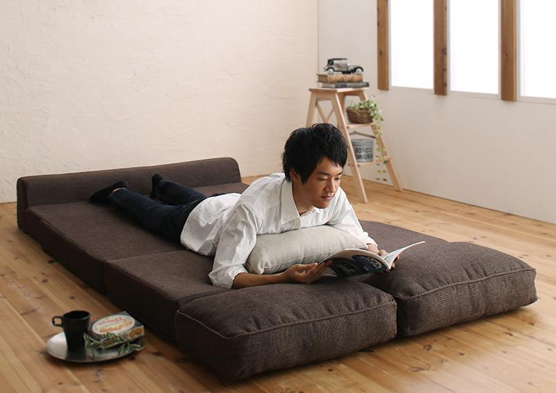 120cm モスグリーン 【送料無料】腰をしっかり支える スペース活用 3WAY コンパクト フロアソファベッド Ernee エルネ 120cm モスグリーン【代引不可】