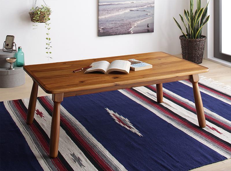 【送料無料】節ありアカシア材 ヴィンテージデザイン こたつシリーズ Rober ロベル こたつテーブル単品(こたつ布団なし) 長方形(60×105cm) ミドルブラウン【代引不可】