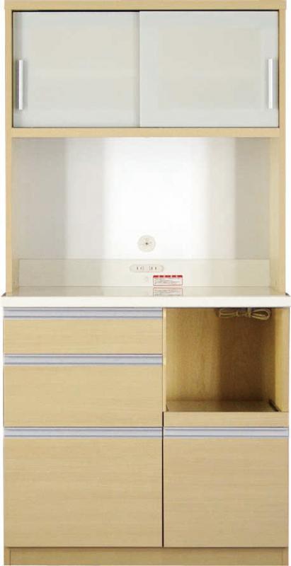 【送料無料】大型レンジ対応 清潔感のある印象が特徴のキッチン収納シリーズ Ethica エチカ キッチンボード 幅90 高さ178 ナチュラル【代引不可】