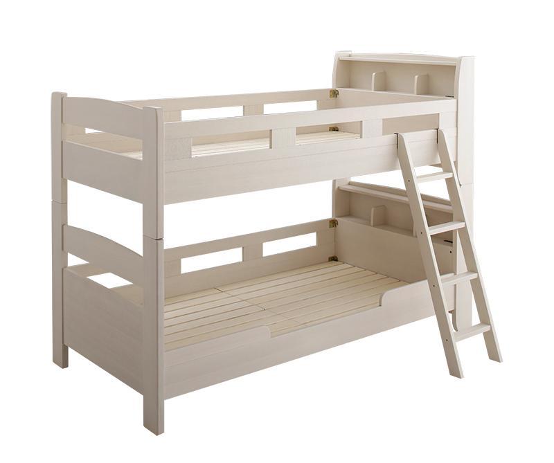 【送料無料】棚・コンセント付き ロータイプ 二段ベッド myspa マイスペ 〔ベッドフレームのみ・マットレスなし〕 シングル 〔フレーム色〕ナチュラル【代引不可】