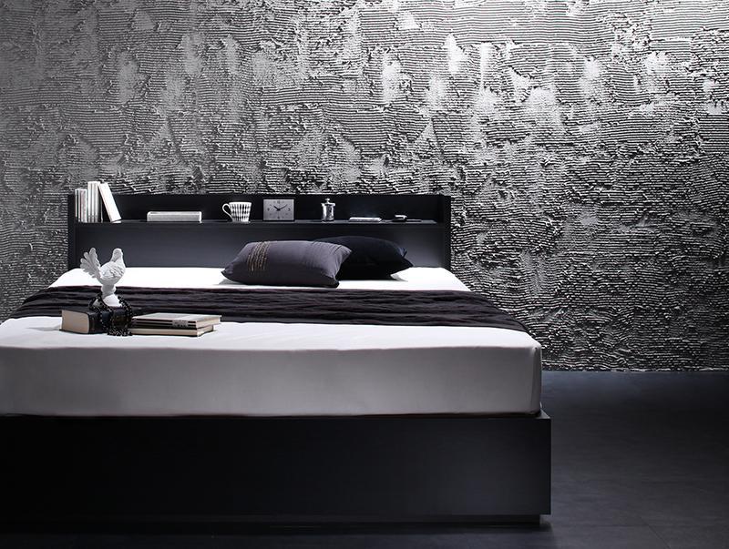 棚・コンセント付き 収納ベッド 〔VEGA〕ヴェガ 〔プレミアムボンネルコイルマットレス付き〕 シングル 〔フレーム色〕ブラック 〔マットレス色〕ホワイト 【代引不可】