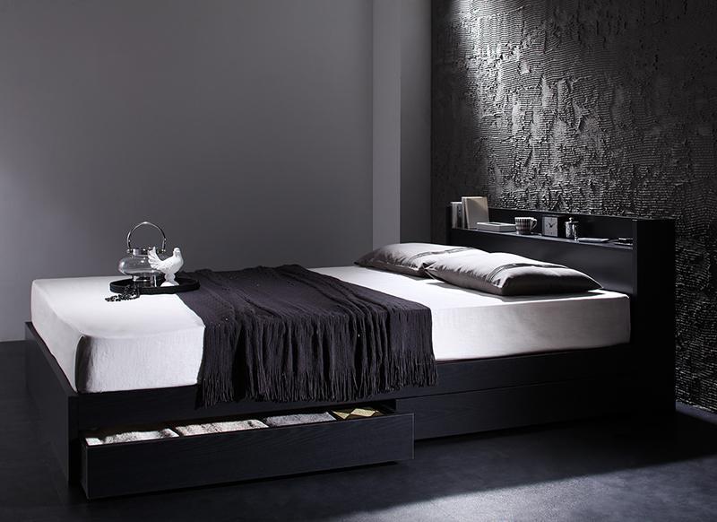 棚・コンセント付き 収納ベッド 〔VEGA〕ヴェガ 〔スタンダードボンネルコイルマットレス付き〕 シングル 〔フレーム色〕ブラック 〔マットレス色〕ホワイト 【代引不可】