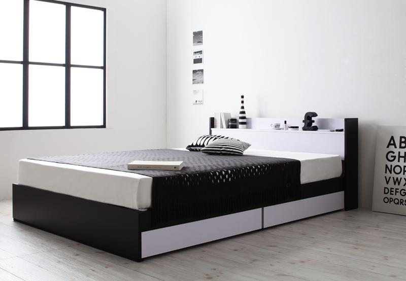 モノトーンモダンデザイン 棚・コンセント付き 収納ベッド 〔MONO-BED〕モノ・ベッド 〔プレミアムボンネルコイルマットレス付き〕 シングル 〔フレーム色〕ナカクロ 〔マットレス色〕ホワイト 【代引不可】