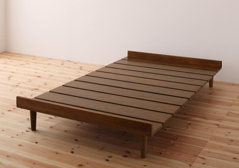ショート丈 北欧デザインベッド 〔Niels〕ニエル 〔ベッドフレームのみ・マットレスなし〕 セミシングル 〔フレーム色〕ダークブラウン 【代引不可】