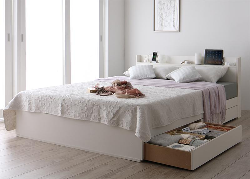 【送料無料】スリム棚・多コンセント付き 収納ベッド 〔Splend〕スプレンド 〔マルチラススーパースプリングマットレス付き〕 シングル 〔フレーム色〕ホワイト 【代引不可】
