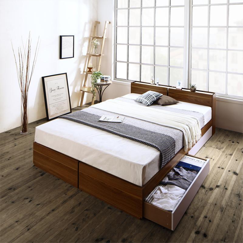北欧ヴィンテージ 棚・コンセント付き 収納ベッド 〔Equinox〕イクイノックス 〔三つ折りウレタンマットレス付き〕 ダブル 〔フレーム色〕ウォルナット×ブラック 【代引不可】