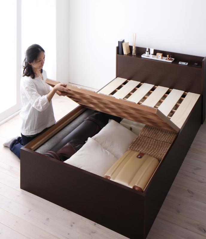 シンプル 大容量収納庫付き すのこベッド 〔Open Storage〕オープンストレージ 〔ベッドフレームのみ・マットレスなし〕 セミダブル 深さラージ 〔フレーム色〕ホワイト【代引不可】【北海道・沖縄・離島配送不可】