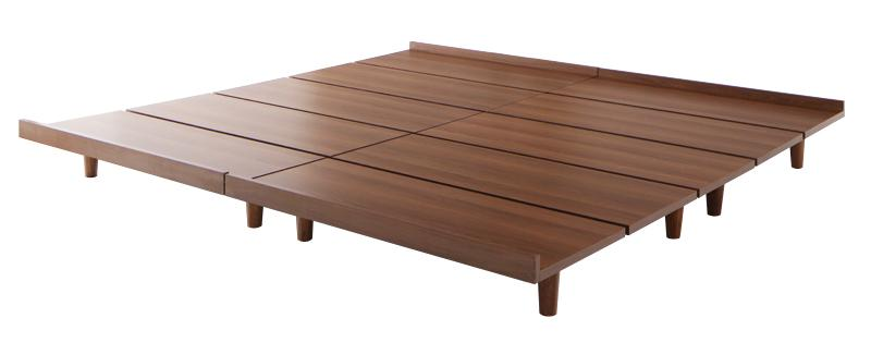 デザインボードベッド 〔Bibury〕ビブリー 〔ベッドフレームのみ・マットレスなし〕 木脚タイプ ワイドK200(S×2) 〔フレーム色〕ブラック【代引不可】【北海道・沖縄・離島配送不可】