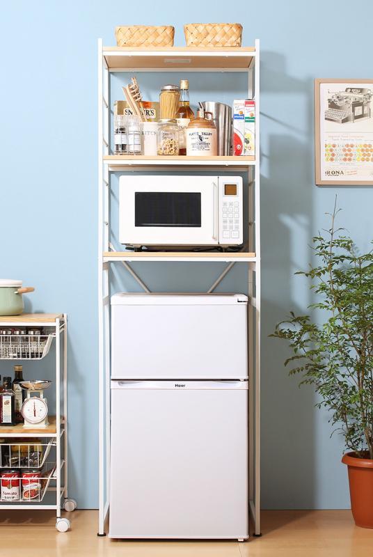 冷蔵庫上のスペースを有効活用できる インテリアキッチンラック 〔Prague〕プラハ ホワイト【代引不可】【北海道・沖縄・離島配送不可】