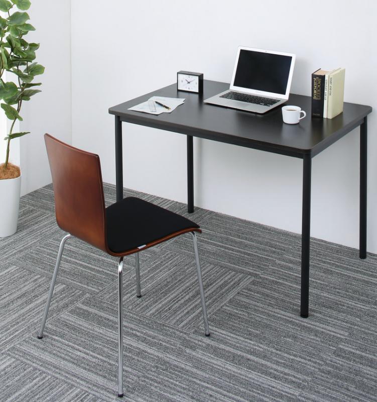 【送料無料】多目的オフィスワークテーブルシリーズ 〔CURAT〕キュレート 2点セット(ワークテーブルW100+チェア) 〔テーブル色〕ダークブラウン 〔チェア座面色〕グリーン【代引不可】