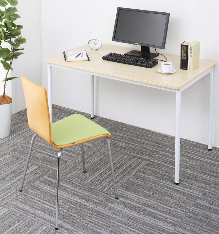 【送料無料】多目的オフィスワークテーブルシリーズ 〔CURAT〕キュレート 2点セット(ワークテーブルW120+チェア) 〔テーブル色〕ナチュラル 〔チェア座面色〕オレンジ【代引不可】