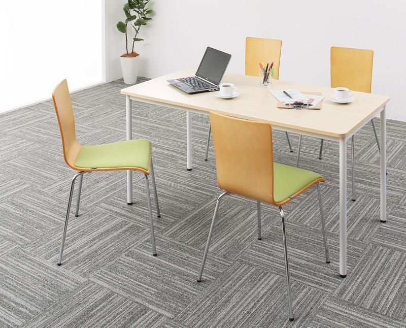 【送料無料】多目的オフィスワークテーブルシリーズ 〔CURAT〕キュレート 5点セット(ワークテーブルW140+チェア4脚) 〔テーブル色〕ナチュラル 〔チェア座面色〕オレンジ【代引不可】