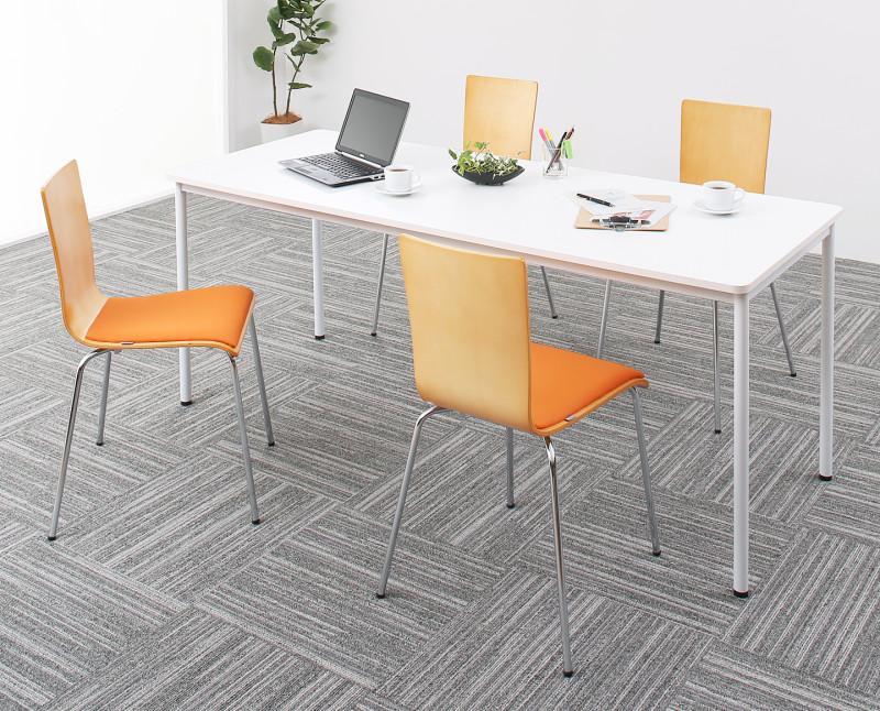 【送料無料】多目的オフィスワークテーブルシリーズ 〔CURAT〕キュレート 5点セット(ワークテーブルW180+チェア4脚) 〔テーブル色〕ナチュラル 〔チェア座面色〕オレンジ【代引不可】
