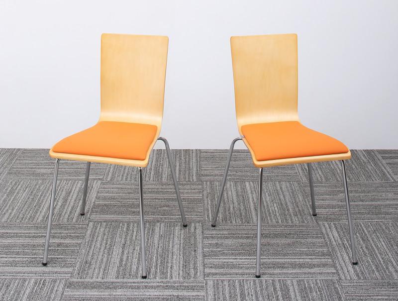 【送料無料】多目的オフィスワークテーブルシリーズ 〔CURAT〕キュレート スタッキングチェア単品(2脚組) オレンジ【代引不可】