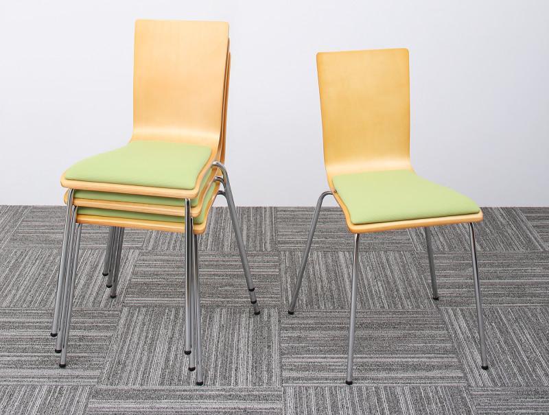 【送料無料】多目的オフィスワークテーブルシリーズ 〔CURAT〕キュレート スタッキングチェア単品(4脚組) グリーン【代引不可】