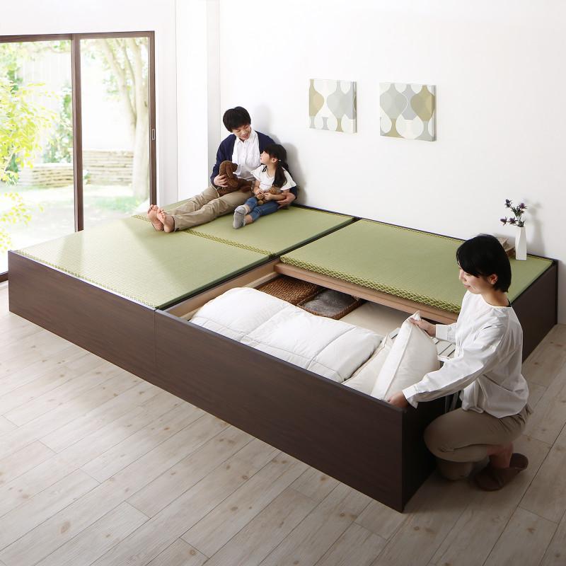 【送料無料】日本製 布団が収納できる 大容量収納 連結畳ベッド 〔ベッドフレームのみ・敷布団なし〕 い草畳 ワイドK280 〔フレーム色〕ダークブラウン 〔畳色〕グリーン【代引不可】