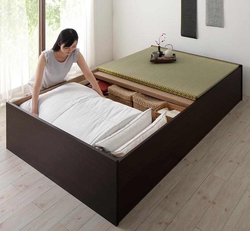 【送料無料】日本製 布団が収納できる 大容量収納 連結畳ベッド 〔ベッドフレームのみ・敷布団なし〕 クッション畳 ダブル 〔フレーム色〕ダークブラウン 〔畳色〕グリーン【代引不可】