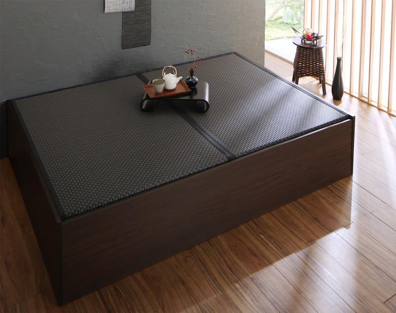 【送料無料】日本製 布団が収納できる 大容量収納 連結畳ベッド 〔ベッドフレームのみ・敷布団なし〕 美草畳 セミダブル 〔フレーム色〕ダークブラウン 〔畳色〕グリーン【代引不可】
