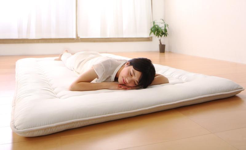【送料無料】日本製 布団が収納できる 大容量収納 連結畳ベッド専用別売品 〔敷き布団単品・ベッドフレームなし〕 セミダブル アイボリー【代引不可】