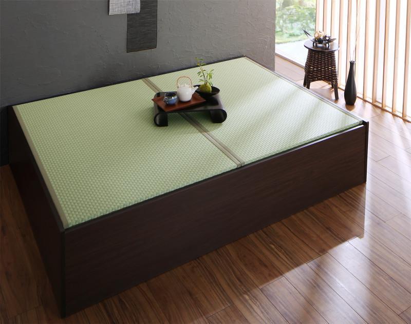 【送料無料】布団が収納できる 美草 小上がり連結畳ベッド 〔ベッドフレームのみ・敷布団なし〕 セミダブル 〔フレーム色〕ダークブラウン 〔畳色〕グリーン【代引不可】