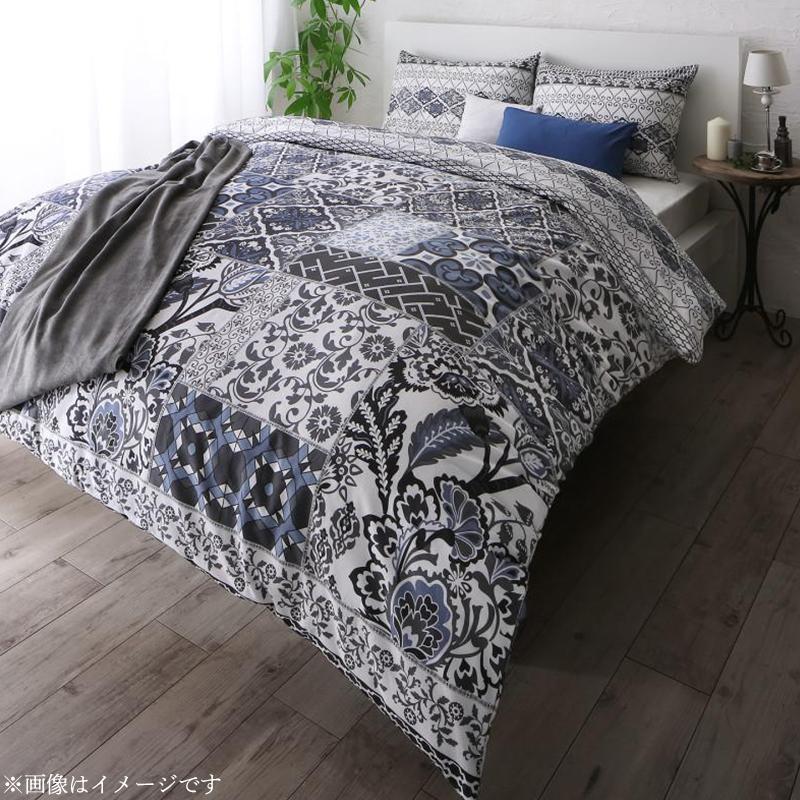 日本製・綿100% 地中海リゾートデザインカバーリング 〔nouvell〕ヌヴェル 布団カバーセット ベッド用 43×63用 ダブル4点セット グレー【代引不可】