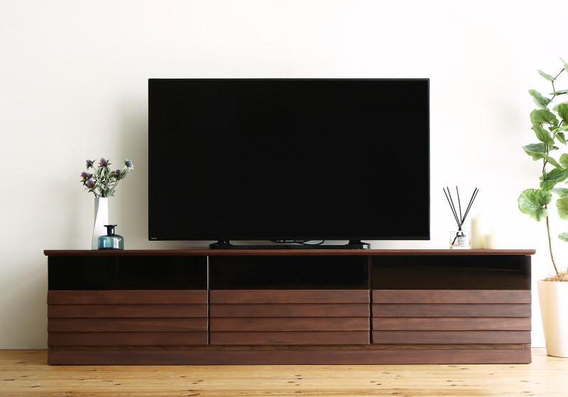 【送料無料】完成品 天然木 テレビボード 〔Quares〕クアレス 幅179.5cm ウォルナット【代引不可】