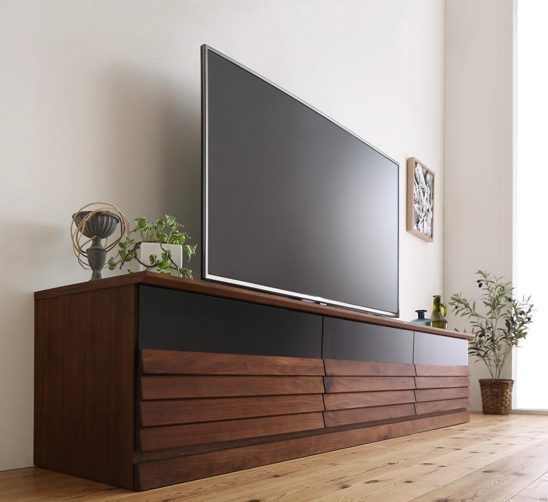 【送料無料】完成品 天然木 テレビボード 〔Quares〕クアレス 幅202cm ウォルナット【代引不可】