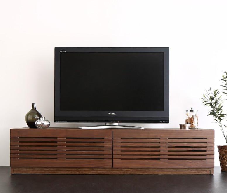 【送料無料】完成品 天然木 ルーバーデザインテレビボード 〔Suare〕スアレ 幅150cm 奥行33cm ウォルナット【代引不可】