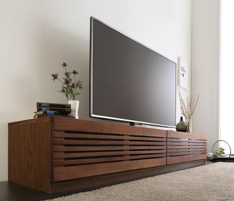 【送料無料】完成品 天然木 ルーバーデザインテレビボード 〔Suare〕スアレ 幅210cm 奥行33cm ウォルナット【代引不可】