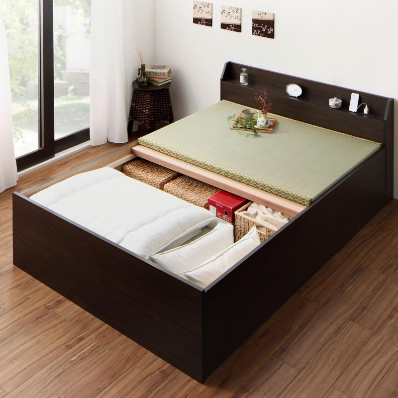 【送料無料】布団が収納できる 棚・コンセント付き 畳ベッド クッション畳 セミダブル 〔フレーム色〕ダークブラウン【代引不可】