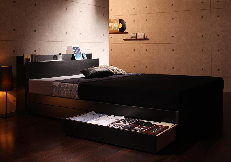 棚・コンセント付き収納ベッド 〔Gute〕グーテ 〔スタンダードボンネルコイルマットレス付き〕 シングル 〔フレーム色〕ブラック 〔マットレス色〕ホワイト【代引不可】