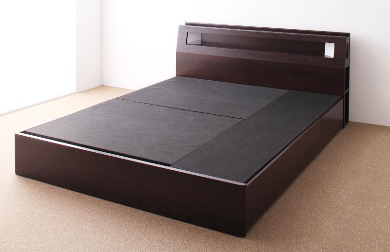 【送料無料】モダンデザイン・大型サイズ収納ベッド 〔Aisance〕エザンス 〔ベッドフレームのみ・マットレスなし〕 クイーン(Q×1) 〔フレーム色〕ダークブラウン【代引不可】