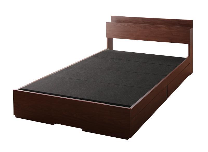 棚・コンセント付き収納ベッド 〔Arcadia〕アーケディア 〔ベッドフレームのみ・マットレスなし〕 床板仕様 セミダブル 〔フレーム色〕ウォルナットブラウン【代引不可】【北海道・沖縄・離島配送不可】