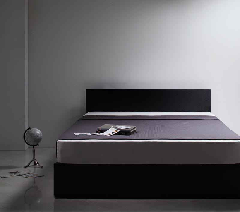 【送料無料】シンプルモダンデザイン・収納ベッド 〔ZWART〕ゼワート 〔プレミアムボンネルコイルマットレス付き〕 ダブル 〔フレーム色〕ブラック 〔マットレス色〕ブラック【代引不可】