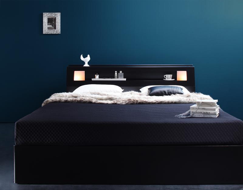 【送料無料】モダンライト・コンセント付き収納ベッド 〔Farben〕ファーベン 〔ゼルトスプリングマットレス付き〕 ダブル 〔フレーム色〕ホワイト 〔マットレス色〕ブラック【代引不可】