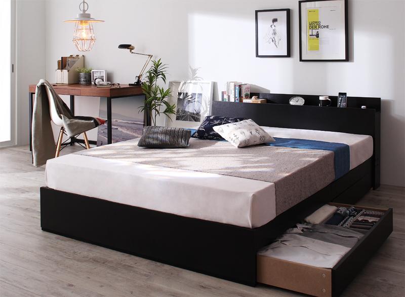 棚・コンセント付き収納ベッド 〔Bscudo〕ビスクード 〔プレミアムボンネルコイルマットレス付き〕 シングル 〔フレーム色〕ブラック 〔マットレス色〕ブラック【代引不可】