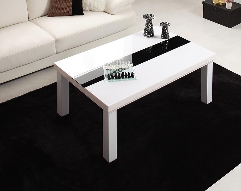 【送料無料】鏡面仕上げ アーバンモダンデザインこたつテーブル 〔VADIT〕バディット 長方形(75×105cm) ダブルホワイト【代引不可】