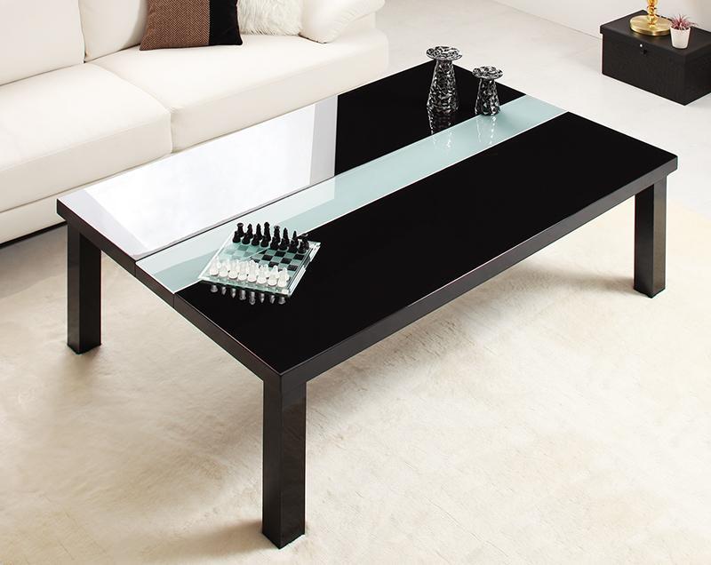【送料無料】鏡面仕上げ アーバンモダンデザインこたつテーブル 〔VADIT〕バディット 4尺長方形(80×120cm) ダブルホワイト【代引不可】