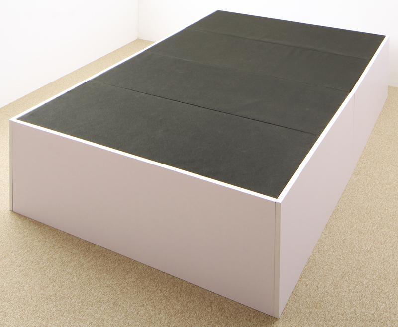 大容量収納庫付きベッド 〔SaiyaStorage〕サイヤストレージ 〔ベッドフレームのみ・マットレスなし〕 浅型 ホコリよけ床板 セミダブル 〔フレーム色〕ブラック【代引不可】