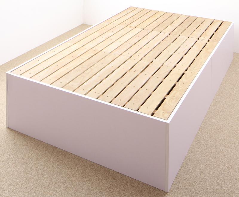 大容量収納庫付きベッド 〔SaiyaStorage〕サイヤストレージ 〔ベッドフレームのみ・マットレスなし〕 浅型 すのこ床板 セミダブル 〔フレーム色〕ウォルナットブラウン【代引不可】