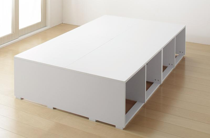 衣装ケースも入る大容量収納ベッド 〔Friello〕フリエーロ 〔ベッドフレームのみ・マットレスなし〕 引き出しなし セミダブル 〔フレーム色〕ホワイト【代引不可】