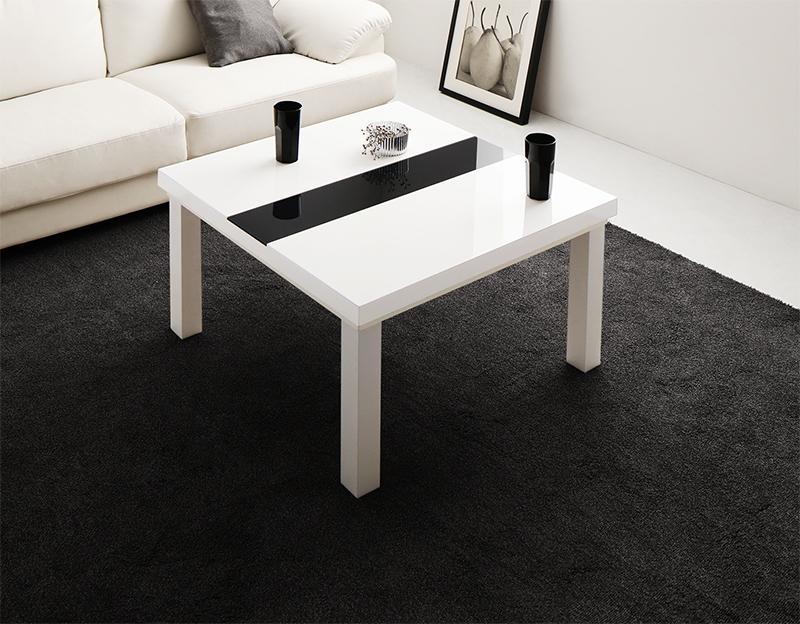 【送料無料】鏡面仕上げ アーバンモダンデザインこたつテーブル 〔VADIT〕バディット 正方形(75×75cm) ラスターホワイト【代引不可】
