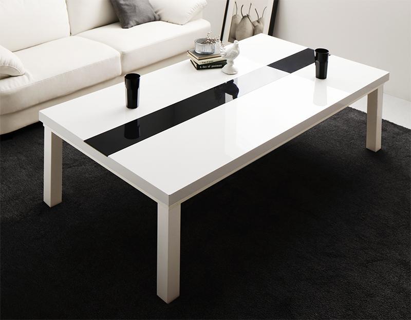 【送料無料】鏡面仕上げ アーバンモダンデザインこたつテーブル 〔VADIT〕バディット 5尺長方形(80×150cm) グロスブラック【代引不可】
